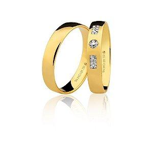 Aliança Ouro Amarelo 18k Polida Anatômica com Diamantes Ref 76.0316.2008