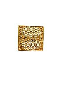 Anel Ouro Amarelo 18k Quadrado Renda Vazada com Diamantes L 57