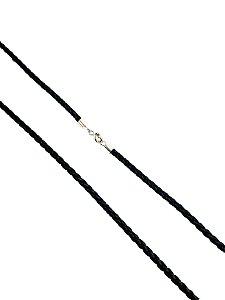 Colar Couro Trançado Preto com Ouro 18k L 4.6