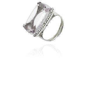 Anel Ouro Branco 18k com Ametista Cristalina e Diamantes L 64.6