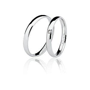 Aliança Ouro Branco 18k Tradicional com Diamante Ref 76.0047.1002