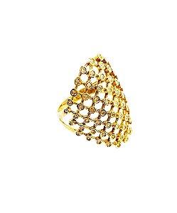 Anel Ouro Amarelo Rendado Diamante L 65.8