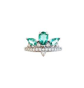 Anel Prata Coroa Pedra Verde VD 89