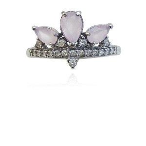 Anel Prata Coroa Pedra Rosa VD 89