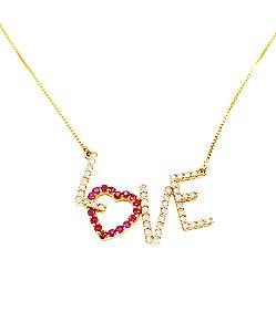 Gargantilha Love em Ouro 18k Cravejado com Diamantes e Rubis L 59.7