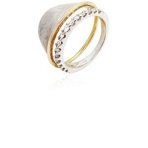 Anel Ouro Branco e Rosê Vazado com Diamantes L 68