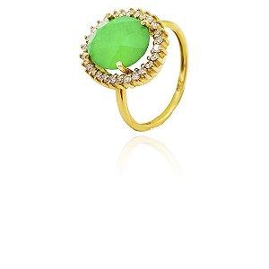 Anel Ouro Amarelo Jade Diamante Princess L 34