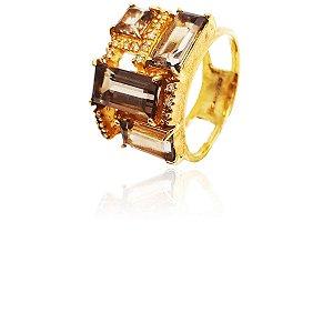 Anel Ouro Quartzo Fumê Diamante L 66.5