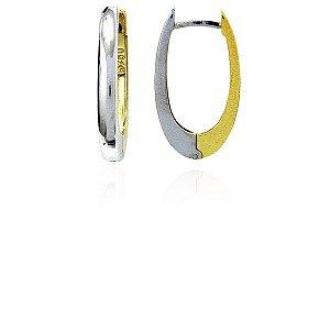 Brincos Ouro 18k Amarelo e Branco Argolas L 19.4