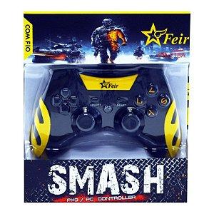 Controle Feir Smash PS3 PC com fio FR-218A - Amarelo