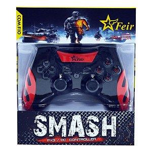 Controle Feir Smash PS3 PC com fio FR-218A - Vermelho