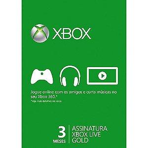 Cartão Xbox Live Gold Microsoft 3 meses