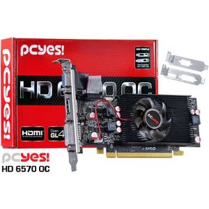 PLACA DE VIDEO AMD RADEON HD 6570 LOW PROFILE OC 2GB DDR5 128 BITS - PS657012802D5LP - PCYES