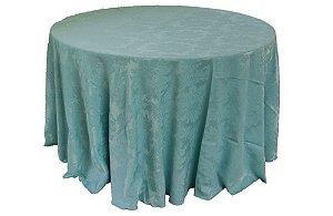 Mesa de Convidados com Toalha Adamascada Azul Tifany