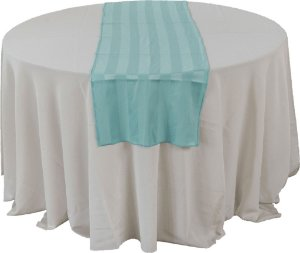 Caminho de mesa listrado azul tifany