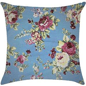 Almofada floral azul e rosa