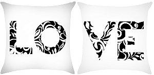 KIT Almofada digital LOVE em arabesco preto e branco