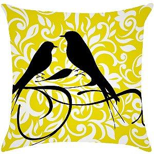 Almofada digital pássaros com arabesco amarelo