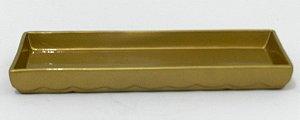 Bandeja cerâmica retangular dourado