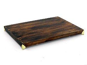 Bandeja madeira pé dourado - P