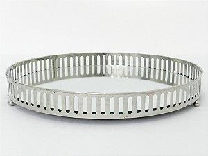 Bandeja similar prata fundo espelhado redonda - M