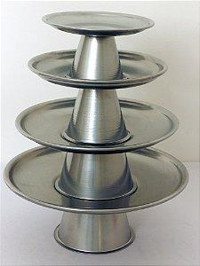 Torre bandeja metal prata