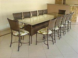 Conjunto de Mesa Retangular CS03 c/ Cadeiras Choperia