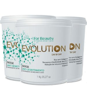 FOR BEAUTY EVOLUTION ANTI DESBOTAMENTO MASQUE 1kg  3 UNIDADES