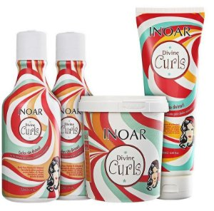 INOAR KIT DIVINE CURLS SHAMPOO 250ml/ CONDICIONADOR 250ml / GEL FINALIZADOR 250ml / MÁSCARA 450g