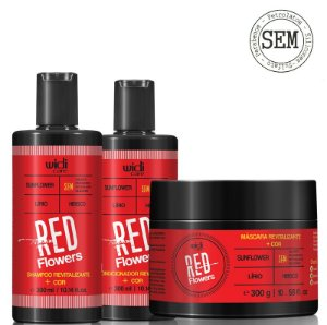 WIDI CARE RED FLOWERS SHAMPOO 300ml  CONDICIONADOR 300ml  MÁSCARA 300g