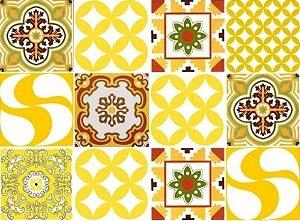 Kit Amarelo - Com 30 peças de azulejos 15,4x15,4 cm