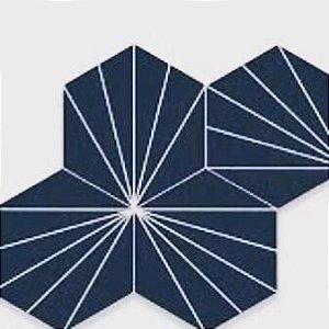 Ladrilho Hexagonal Modelo Aranha Azul com Branco 20x20 cm kit com 27 peças
