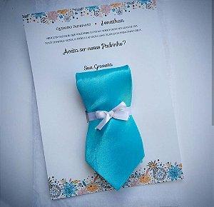 Convite Para Padrinho Com Gravata Personalizada Mínino 4 Peças