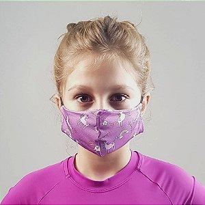 Máscara de Tecido para Proteção Infantil UV.LINE - Unicórnio - Tam. U