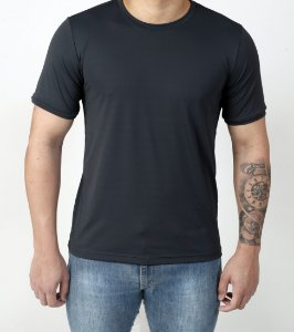 Camiseta Manga Curta Antiviral Preta Masculina - Adulto