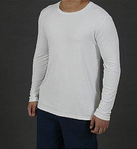 Camiseta Manga Longa Antiviral Branca Masculina - Adulto