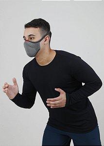 Camiseta Manga Longa Antiviral Preta Masculina - Adulto