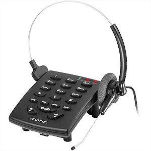 Telefone Headset Felitron Stile S8010 Black tiara com tubo de voz fixo
