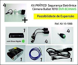 Kit 4 Câmeras Bullet VHD 1010 DVR 8 Canais COMPLETO para Instalar!! Possibilidade de Expansão!