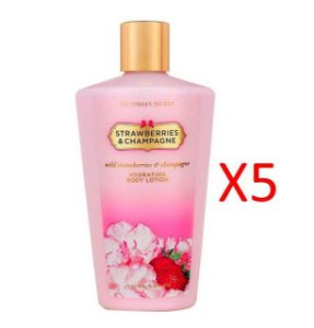 KIT COM 5 CREMES HIDRATANTE STRAWSBERRIE AND CHAMPAGNE VICTORIA´S SECRET