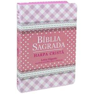 Bíblia Sagrada com Harpa cristã / Letra gigante / Almeida Revista e Corrigida /  Capa semi flexível rosa / SBB