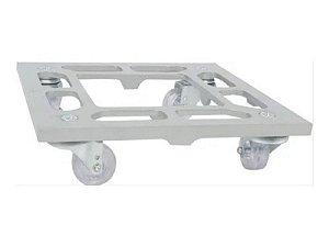 Suporte Para Vaso Quadrado 30cm Alumínio Roda Silicone Prata
