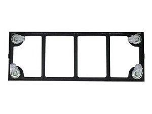 Suporte Para Vaso 60x20cm Retangular Aluminio Rodízio -preto