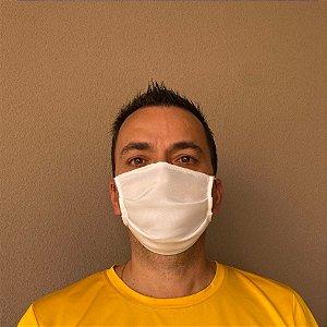 3 Máscaras Lavável De Elástico Branco e Tecido Cru