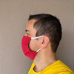 3 Máscaras Lavável De Elástico Branco e  Tecido Vermelho