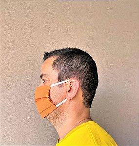 3 Máscaras Lavável De Elástico Branco e Tecido Laranja Escuro