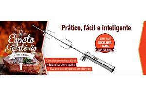 ESPETO ROTATIVO ROTARY SPETO GARFO CURTO HASTE CENTRAL 50A 65CM A PILHA AA BLISTER