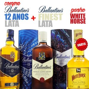 Whisky Ballantine's 12 Anos 750ml + Ballantine's Finest 750ml Ed. Limitada Lata GRÁTIS White Horse 500ml