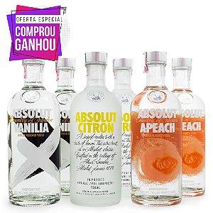 Combo Vodka Absolut Sabores 750ml - Ganhe 6 Taças Exclusivas