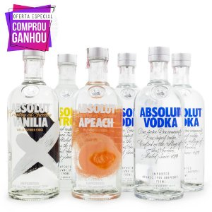 Combo Vodka Absolut 750ml - Ganhe 6 Taças Exclusivas